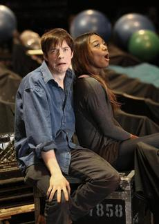Matthew James Thomas, who plays Pippin, and Patina Miller, who is the Leading Player, at the Loeb Drama Center.